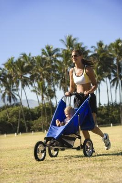A jogging stroller has three wheels for easy maneuvering when running or walking.