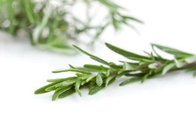 Rosemary on a cutting board.