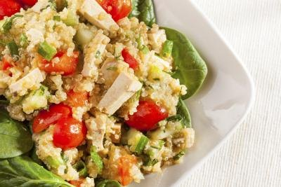 A salad with quinoa and vegetables.
