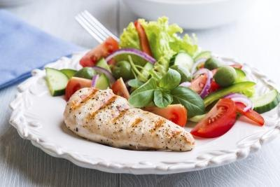 Chicken breast and salad.