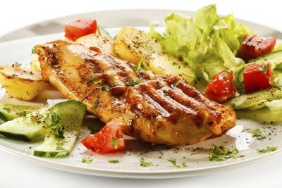 Chicken breast is low in fat when the skin has been removed.