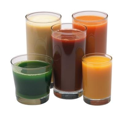 Assorted fresh juices.