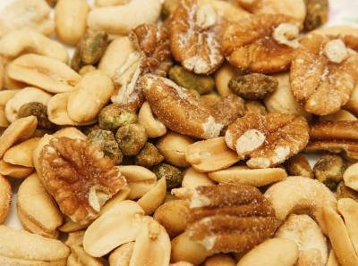 Nuts are high in fiber and protein.