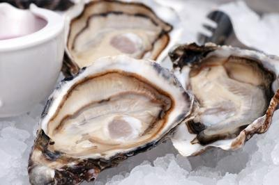 Raw oysters on ice.