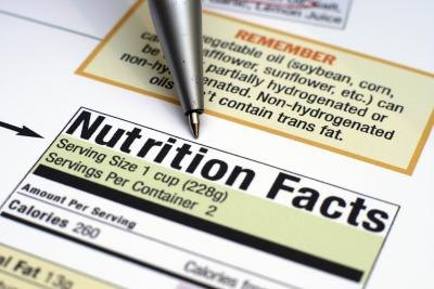 Close up of nutrition fact label.