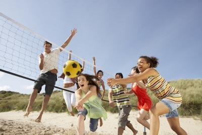 Make exercise fun by playing sports with your friends.