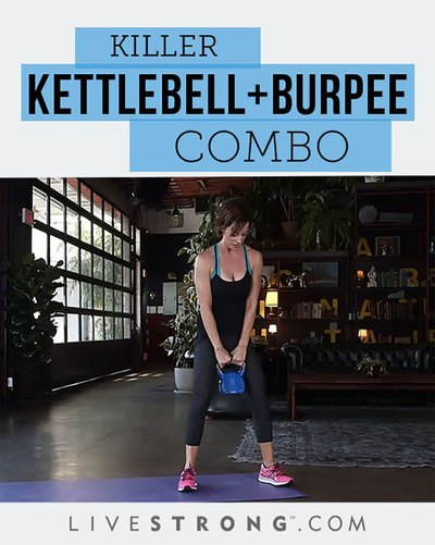 Watch your form when attempting the kettlebell swing + burpee combo.