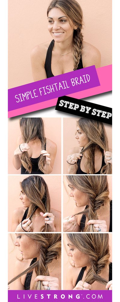 Tie your hair into a relaxed fishtail braid in no time.