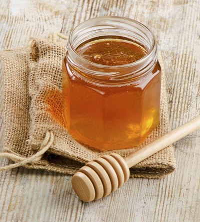 Honey in jar.