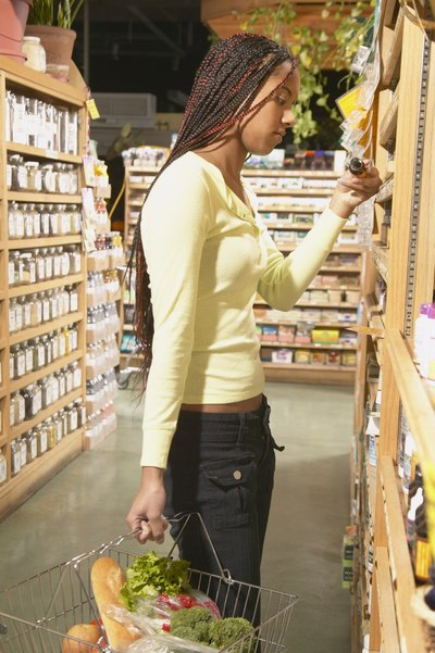 Girl shopping in health food store
