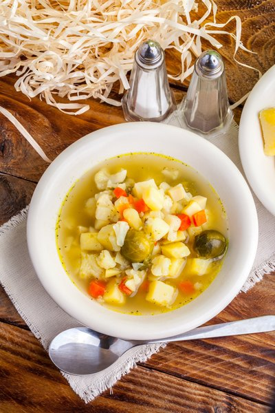 Vegetable soup is healthy and filling.