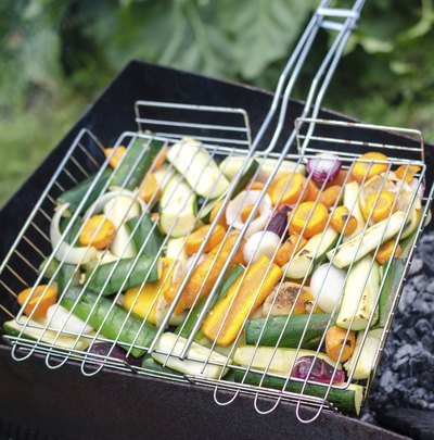 Vegetables grilling on barbeque