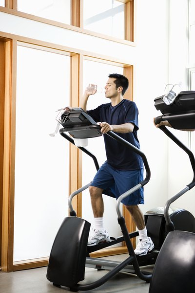 Your back hip remains flexed throughout the movement on the elliptical.