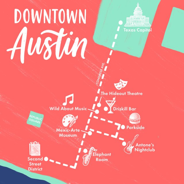 Walking map of Austin