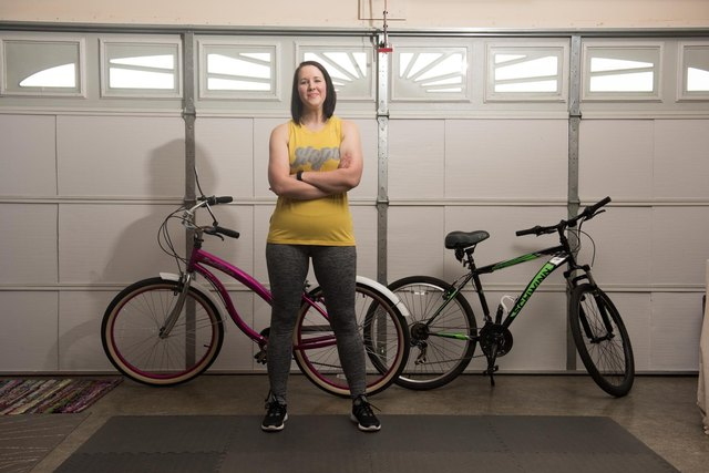 Lacey works out daily in her home gym and loves taking long bicycle rides.