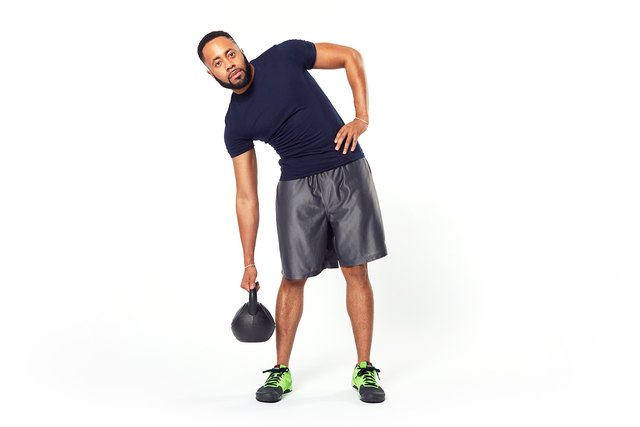 Grab a kettlebell or dumbbell for this exercise.