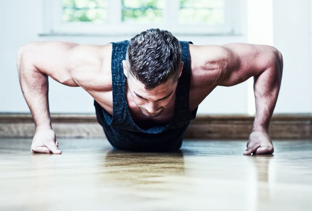 Push-ups are essentially planks with a bench press -- kill two birds with one move.