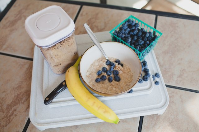Amanda's favorite breakfast includes organic oatmeal with fresh blueberries and protein powder.