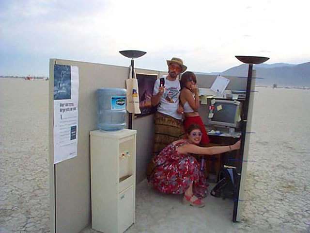 This is the office cubicle my friends and I stumbled upon way out in the desert in uncharted territory at Burning Man 2000.