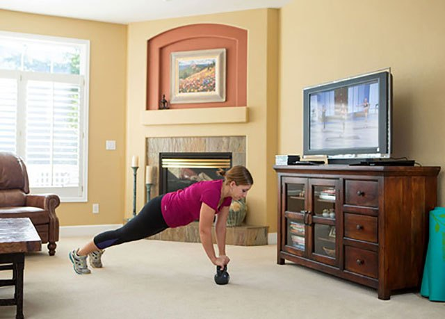 Sarah also uses workout videos to keep on top of her exercise schedule.