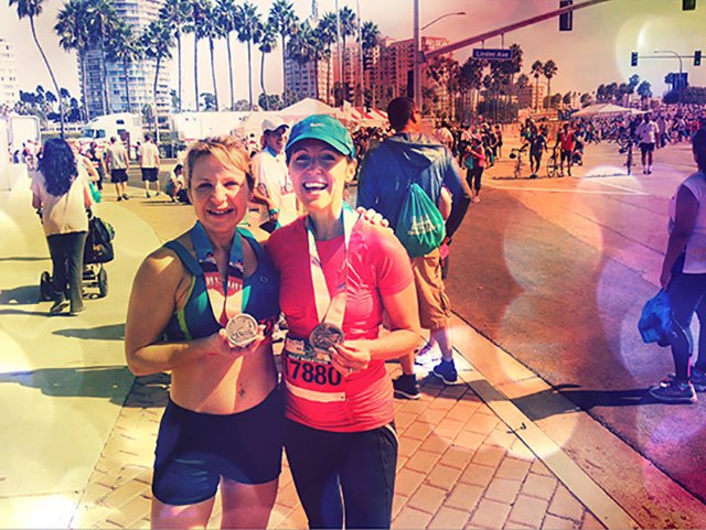 My friend Dawn Ellen and me, after finishing the Long Beach half-marathon on Oct 7, 2012.