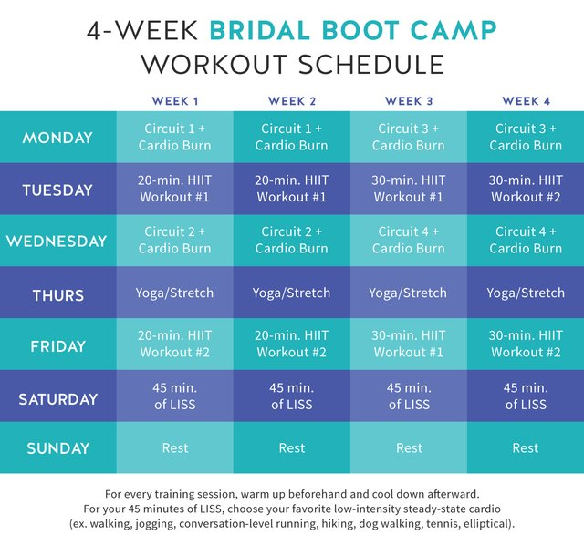 Follow this calendar for your 4-week bridal boot camp.