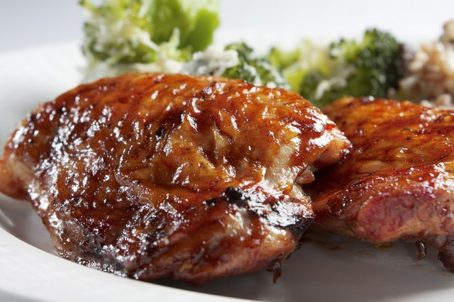 This is an example of oven-baked barbecue chicken breasts.
