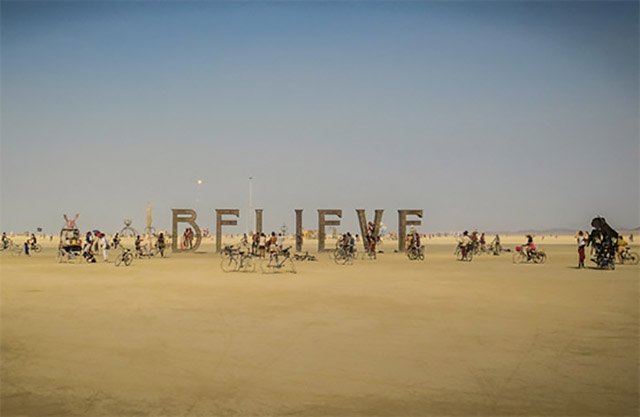 BELIEVE sculpture at Burning Man 2013 by Laura Kimpton and Jeff Schomberg.