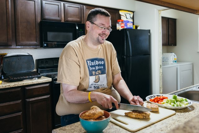 Jim preparing a healthy meal.