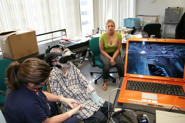 Pediatric burn patients use virtual reality to distract them during painful therapy exercises.