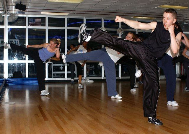 Kickboxing class will help get the legs in shape and is a good aerobic workout.