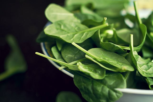 Spinach contains vitamin K, which is essential to bone building.