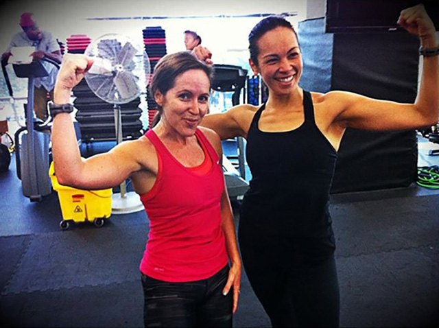 My workout buddy Norma and me, flexing our muscles.