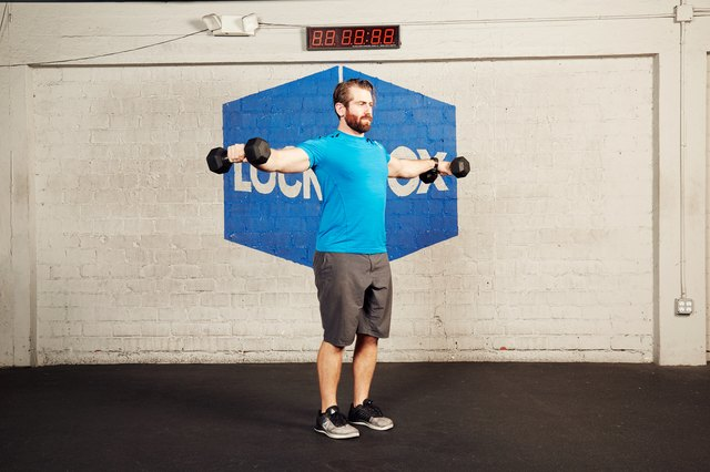 Here's how to do a lateral dumbbell raise.