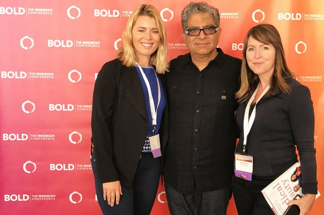 LIVESTRONG General Manager Jess Barron and Senior Editor Michelle Vartan met with Deepak Chopra at the at the 2016 BOLD MindBody Conference in Hollywood.