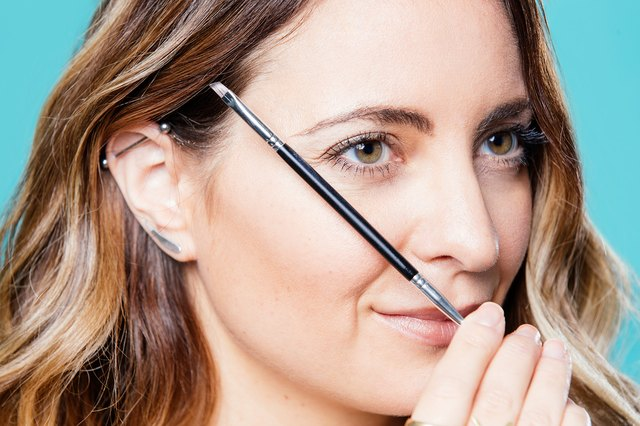 Your brow should stop where your brush hits on an angle from the nose to the outside lash line.