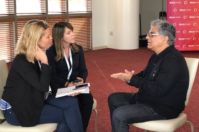 LIVESTRONG General Manager Jess Barron and Senior Editor Michelle Vartan interview Deepak Chopra at the 2016 BOLD MindBody Conference in Hollywood.