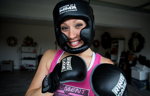 Kate loves MMA classes because they provide a great exercise, and she gets to work out with her friends.