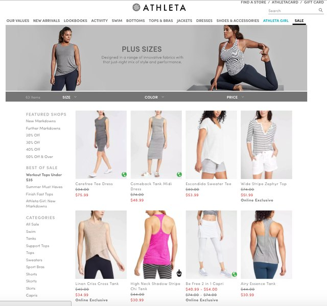 Althleta's plus-size sale section looks just like the straight-size sale section.