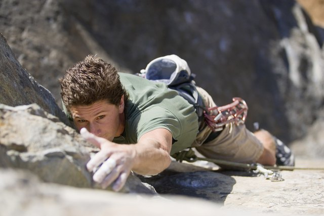 Rock climbing burns about 400 calories in 30 minutes.