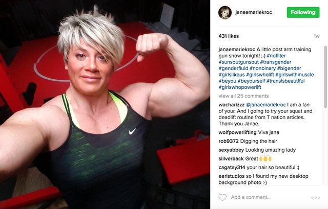 "Active in the gym and embraced by the female lifting community, Janae says she's a ""total jock girl who has a very girly side."""