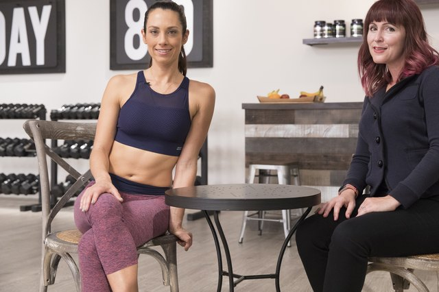 LIVESTRONG GM Jess Barron interviews Beachbody trainer Autumn Calabrese on the set of her new fitness program 80 Day Obsession