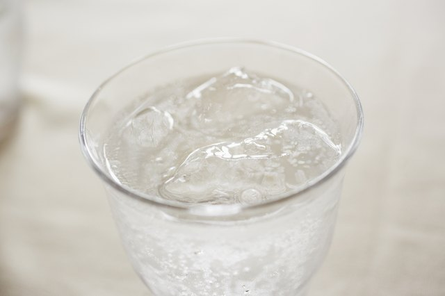 Glass of clear soda.