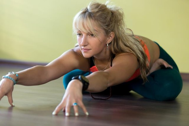 Stretching positions can be progressed as you become more flexible.