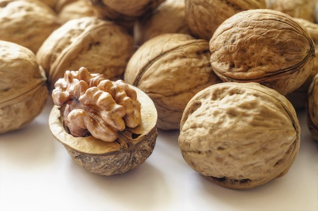 A close up of walnuts