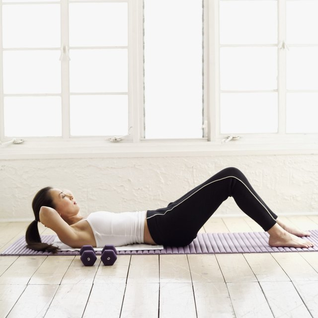 Strengthen your upper abdominal muscles with crunches three to four days a week.