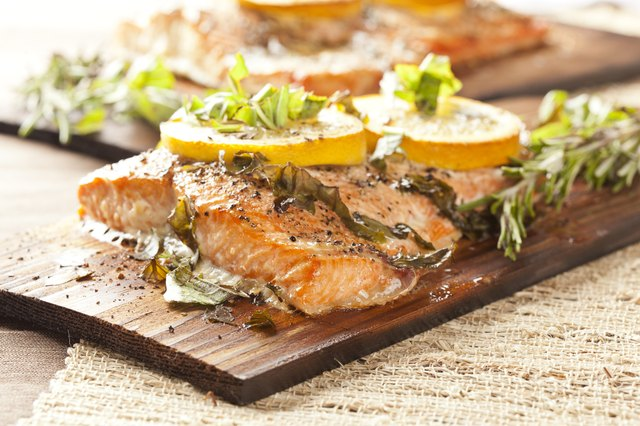 grilled salmon on platter