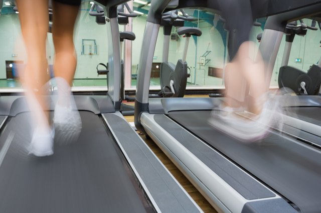 High intensity running on a treadmill.