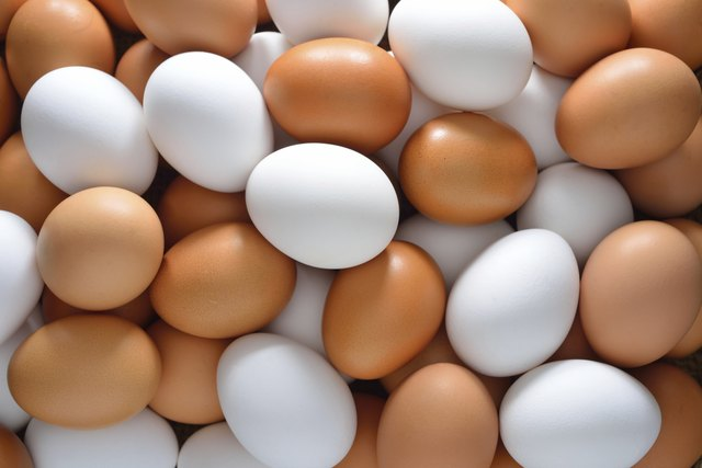Pile of brown and white eggs