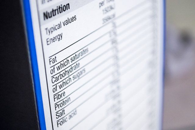 The total carbohydrate grams per serving are listed on nutrition labels.